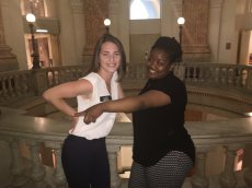 Shakaiya, a student from MERIT, and her MGG ambassador at City Hall ready to discuss tobacco concerns and their impact on youth! #MyBmore #Health