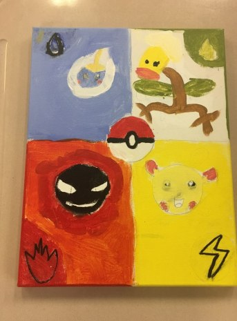 The student who painted this piece experiences PTSD and plays Pokemon to escape from the violence and trauma in his life. He painted these Pokemon to protect him, just as they do the characters in the game.