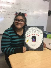 This student wishes to express the battle fought by those experiencing depression. The young girl in her artwork is equipped with a sword and shield as those around her shout harmful words and judge from afar.