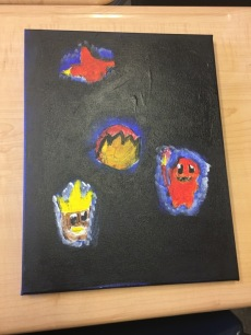 This artwork, inspired by another student, represents trauma through the black background and uses the Pokemon to represent light and protection.