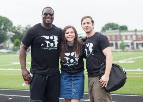 MGG strives to be as involved as possible with our community. Here, co-director Dr. Galiatsatos poses with a volunteer and Hof City Sports representatives at a summer sports camp.