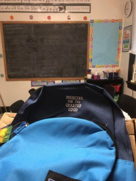 The backpacks used for this years Back-to-School outreach initiative, personalized thanks to Heidi Follin.